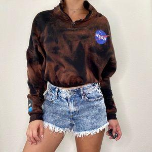 Chemistry NASA Custom Bleached Cropped Sweatshirt